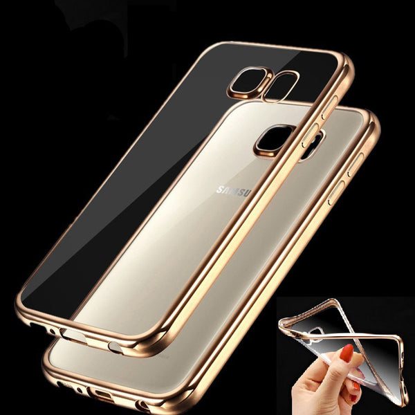 Case for Samsung Galaxy J2 J5 J7 2016 A3 A5 A7 2016 Grand Prime S5 S6 S7 Edge Clear Gold Plating Soft Silicon TPU Phone Bag Case