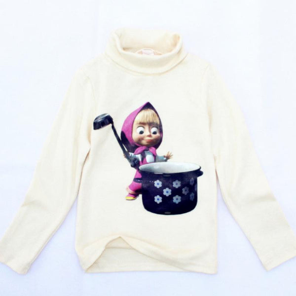 Children Long Sleeve T-Shirt Cotton Turtleneck Cartoon Boys Clothes Kids Clothes Girls Clothes Masha Bear Kids Designer Brand