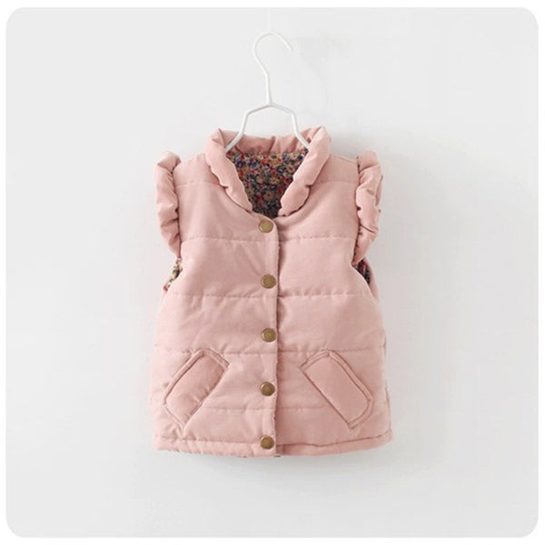 Children Outerwear & Coats Autumn And Winter Solid Pink Kids Vest European And American Style Kids Coats Princess Girls Vest