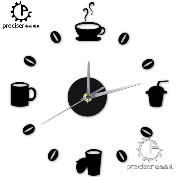 Coffee Cups Beans 3D DIY Wall Clock Acrylic Stickers Quartz Modern Home Decoration Retro Kitchen Wall Clock