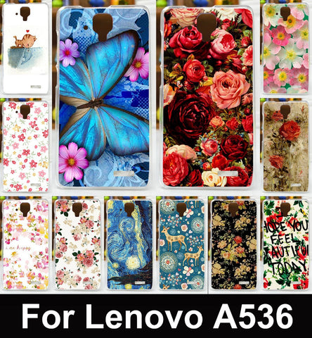 Colorful Butterfly& Rose Flowers Painted Mobile Phone Case For Lenovo A536 A358t Housing Cover Skin Shell Hood Soft TPU Shield