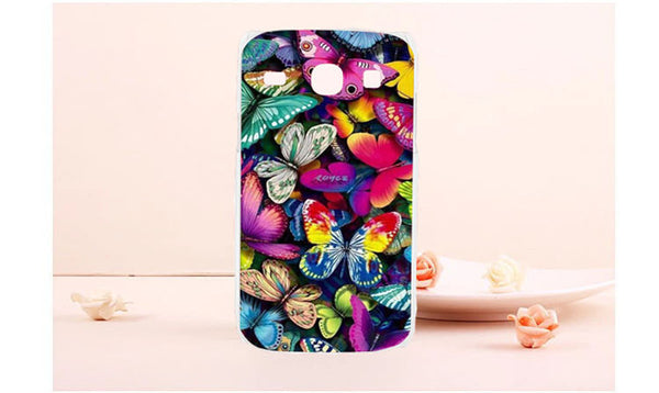 Colorful Flower Rose Butterly Vintage Totem Painted Phone Cover Shell For Samsung Galaxy Core i8260 i8262 8260 8262 Phone Case