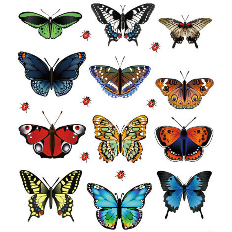 Comfortable life New Landscaping Decoration Heart Shaped Stickers 12 Butterfly Stickers wholesale free shipping A10
