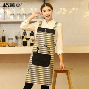 Cotton Cute Funny Bib aprons for men and women chef restaurant working cooking baking kitchen coffe tea shop pinafore apron logo