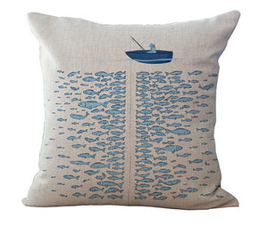 "Cotton Linen 18"" Blue Sea Series fish Printed Home Decorative Throw Cushion Whale Car Seat Soft Waist Cushion Without Filling"