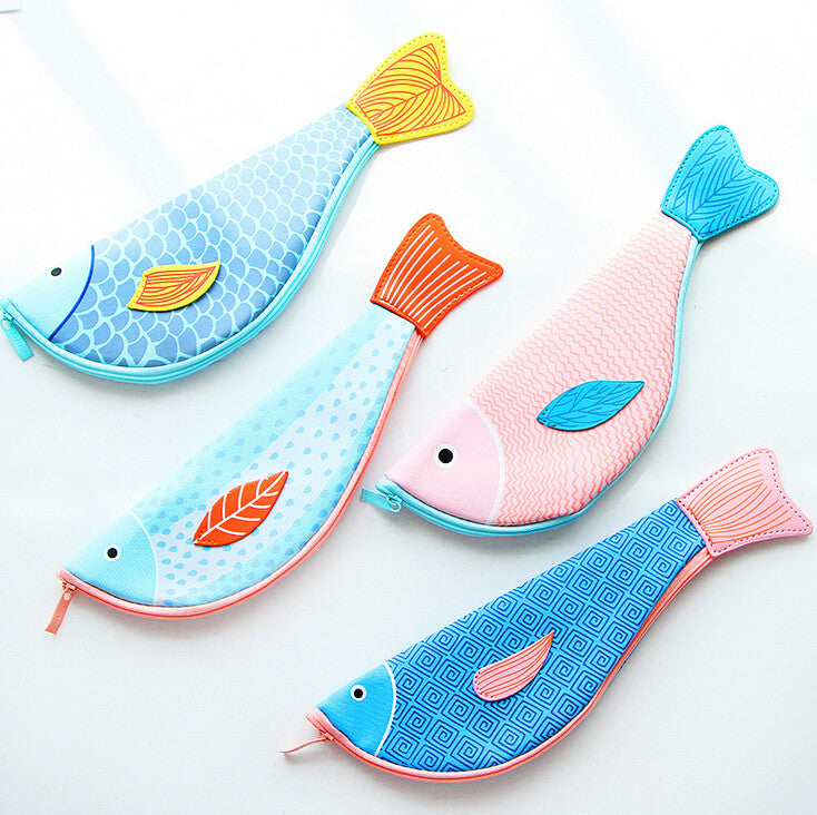 Creative Fish Shaped PU Leather Pencil Bag Stationery Storage Organizer Case School Supply Student Prize