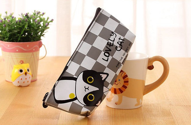Creative Lovely Cat PU Leather Waterproof Zipper Pencil Case Stationery Storage Bag School Office Supply Escolar Papelaria