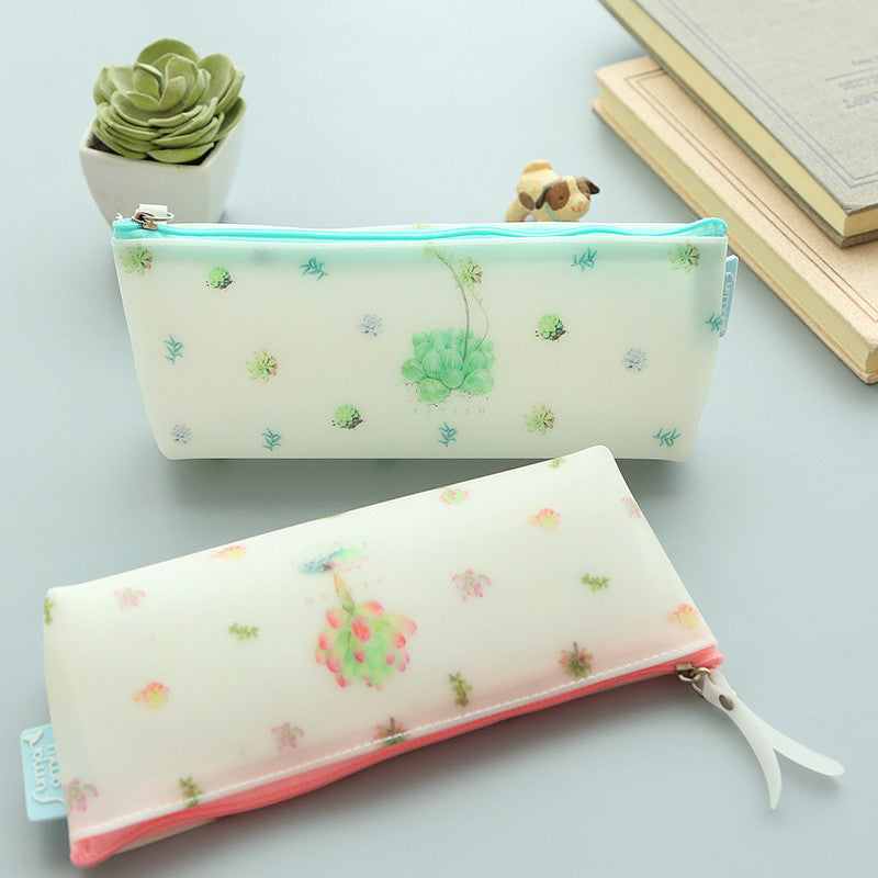 Creative Succulent Plants Jelly Silicone Waterproof Pencil Case Stationery Storage Organizer Bag School Office Supply Escolar