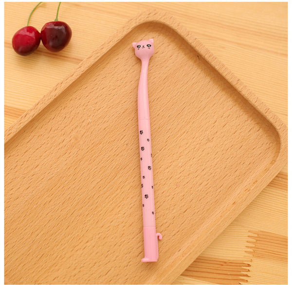 Cute 0.5mm gel pen black ink pen kawaii lovely cat cartoon animal pink white coffee color newest stationery promotion gift 0308