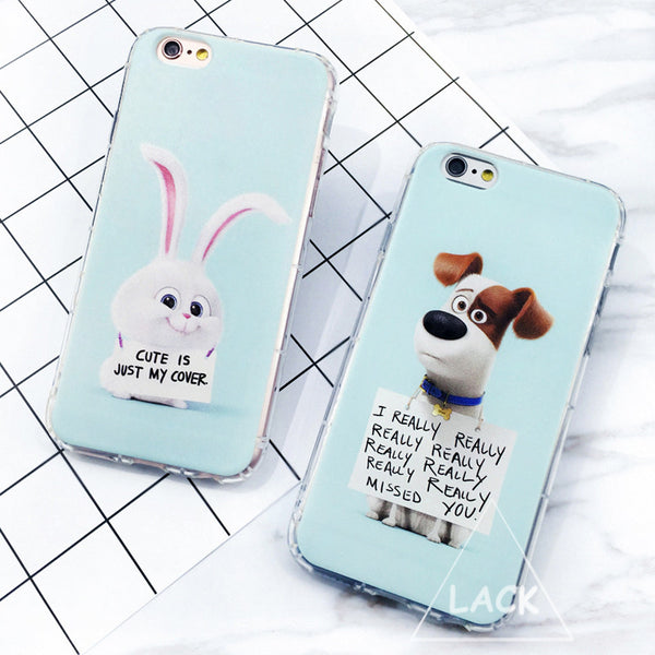 Cute Cartoon Animal Case For iphone 5S Case For iphone 5 SE 6 6S Plus Back Cover The Secret Life of Pets Letter Phone Cases Capa