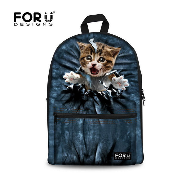 Forudesigns Animal Prints Cotton Fabric Backpacks Women J