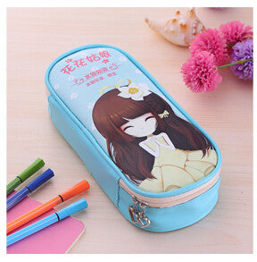 Cute school pencil case for girls Big hero Flower girl pencil bag Large Capacity Leather Stationery pouch office school supply
