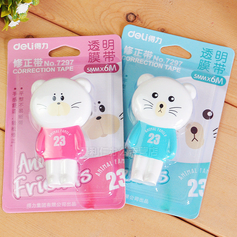 Deli Cute Animal Pig Panda Bear Kawaii Correction Tape Korean Sweet Stationery Novelty Office Kids School Supplies Children