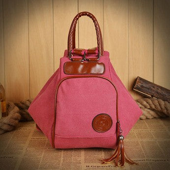Ribbons Solid Canvas Backpacks Women Y-0001