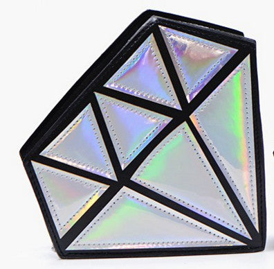 Designer Geometric Laser Hologram handbag Ladies Leather Damond Bag For Party Women Clutch Bags 6color Bolsas De Mujer Cuzdan