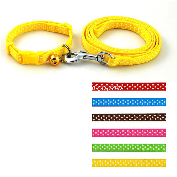 Dot Printed Nylon Pet Dog Necklace Pet Dog Collar and Leash Lead Set