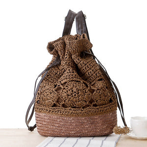 Luxy Moon Flowers Knitting Straw Handbags Women