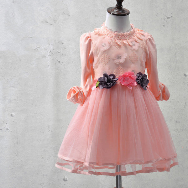 Elegant Girl Dress Girls 2016 Autumn Fashion Pink Lace Big Bow Party Tulle Flower Princess Wedding Dresses Baby Girl dress 3-9Y