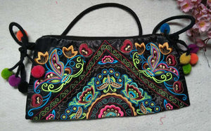 Vintage Embroidery Embroidery Floral Cotton Fabric Handbags Women 22