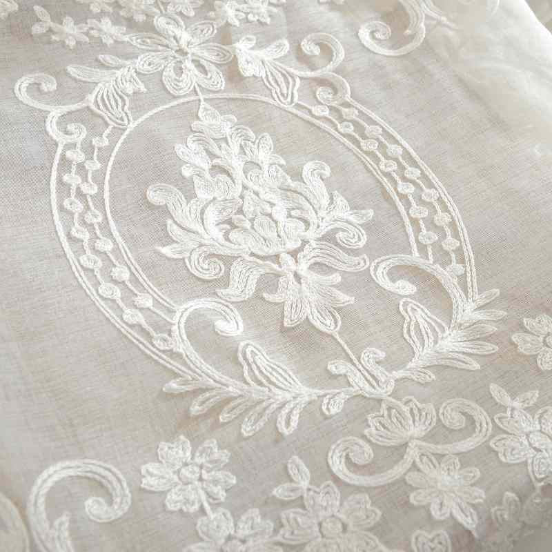 European White Embroidered Voile Curtains Bedroom Sheer Curtains for Living  Room Tulle Window Curtains Panels Window Screening