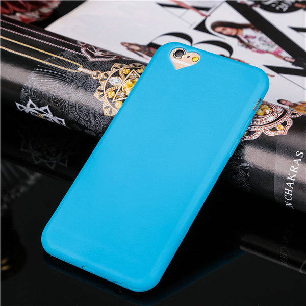 Fashion Candy colors Soft TPU phone cases For iphone 6 6S 4.7inch Cute loving heart Camera hole protect cover with Dust plug