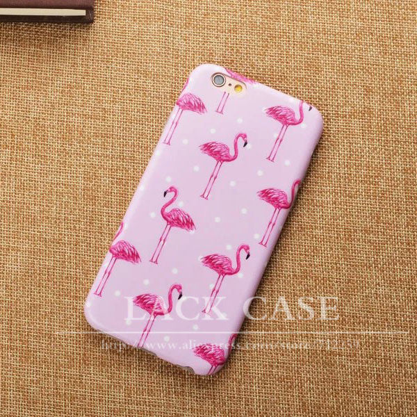 "Fashion Cartoon Flower Stripe Dot Colorful Flamingo Case Cover For iPhone 6 6S Plus 4.7 5.5"" Soft IMD Phone Cases & bags Fundas"