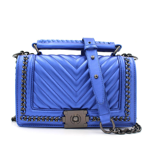 Mynos Button Striped Pu Handbags Women Women Bag