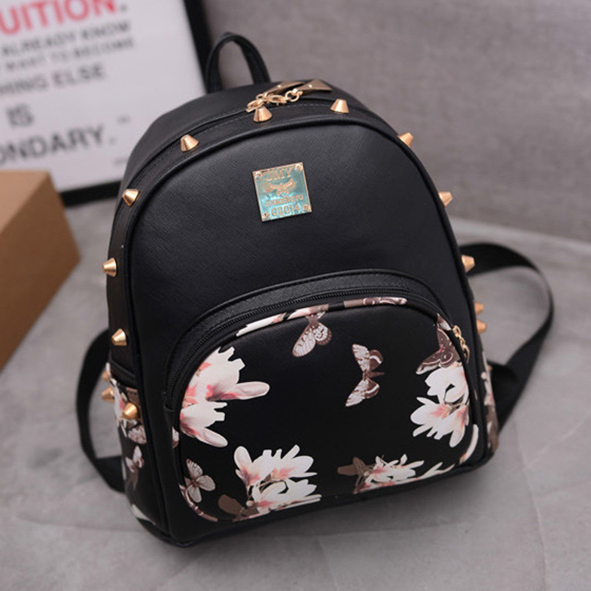 Mojoyce Floral Pu Backpacks Women Backpack