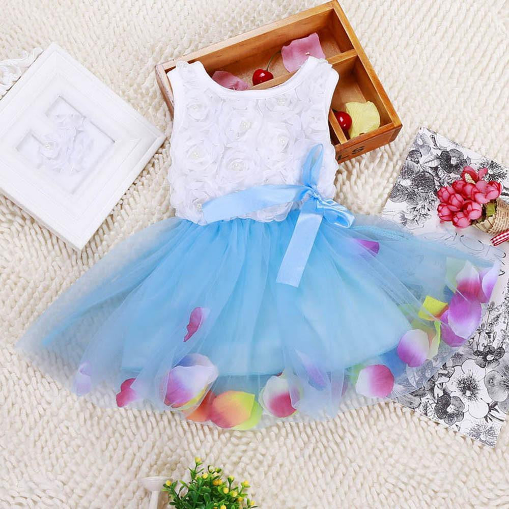 Fashion Summer Colorful Mini Tutu Dress Petal Hem Dress Floral Clothes Princess Baby Vestido