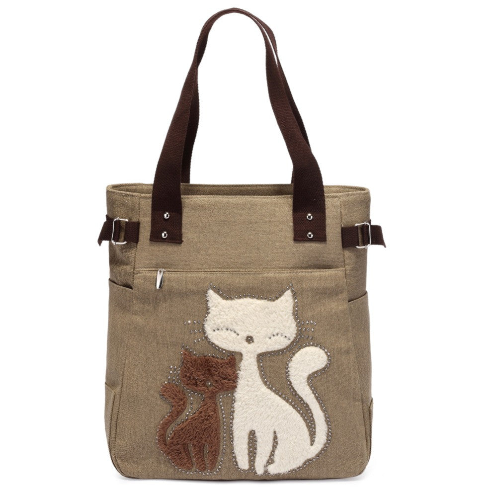 Cute Cat Cartoon08 PU Folding Dumpling Bag Tote Bag Large Women Casual Shoulder Bag Handbag