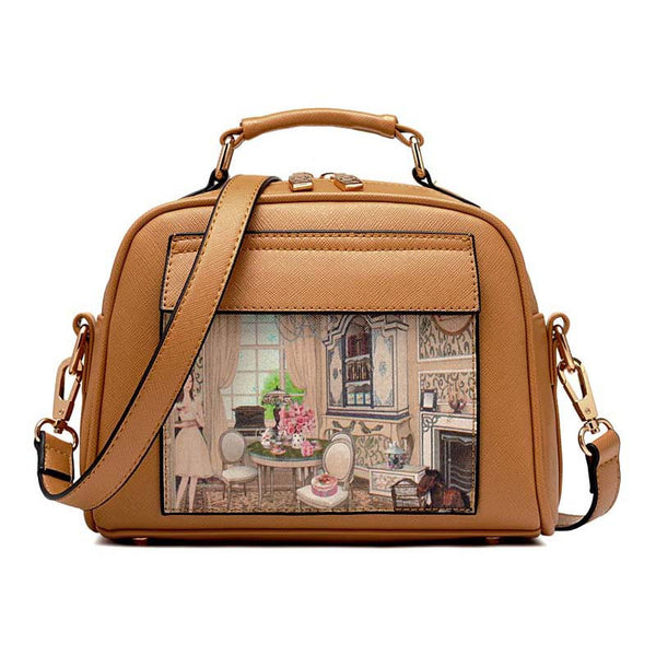 White Lily Cartoon Printing Character Pu Handbags Women Zht.bbb7733