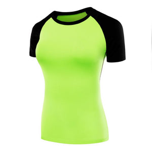 Female sports training tights shirts PRO Fitness Patchwork yoga clothes tight stretch short sleeve T-shirt F8023