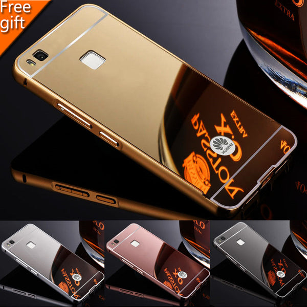 For Huawei G9 Lite P9 Lite Case 5.2 inch Luxury Gold Plating Armor Aluminum Metal Frame + Mirror Acrylic Case Back Cover Hot