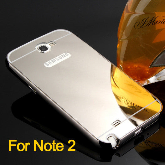 pretty nice e0f01 7f052 For samsung galaxy Note2 n7100 case cover luxury Clear Mirror Metal Frame  Aluminum phone case Slim Anti-knock Acrylic Back Cover