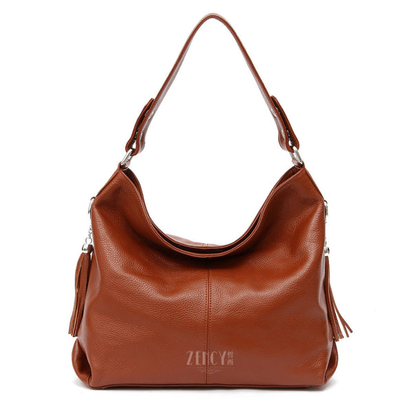 Zency Appliques Solid Genuine Leather Handbags Women Zc0305