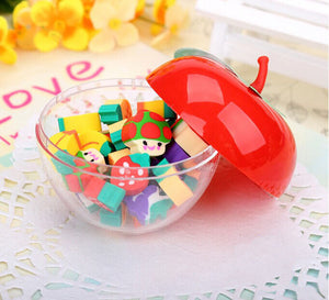 Free delivery Korea creative stationery lovely apple shape bottled fruit gift gift eraser primary school