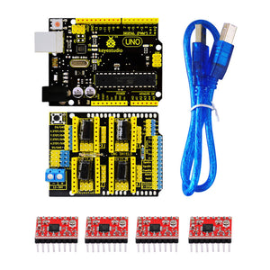Free shipping Keyestudio 3D CNC kit for arduino CNC Shield V3+UNO R3+ 4pcs A4988 driver GRBL compatible