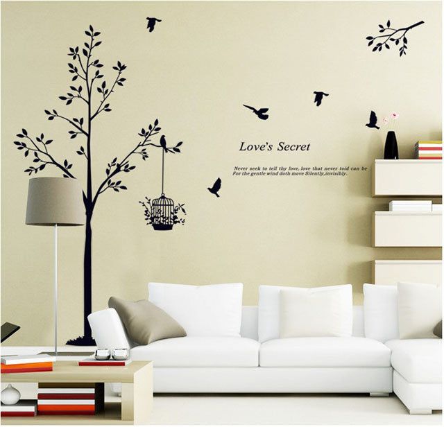Fundecor new home decor tree wall stickers birdcage for New home accessories