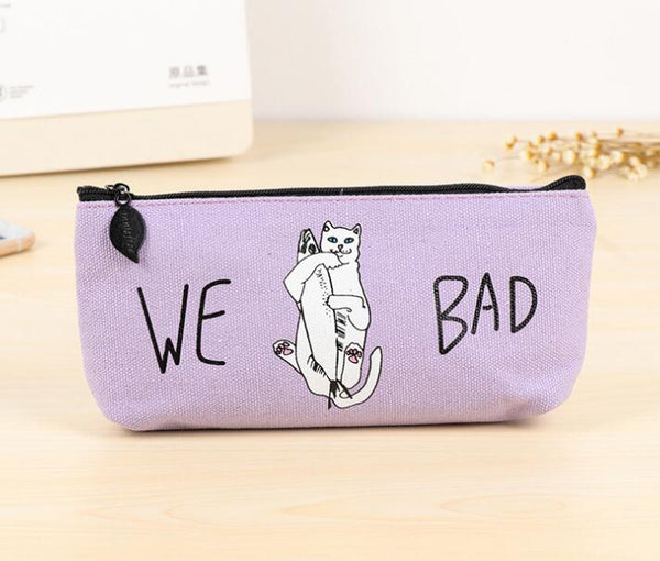 Funny We Bad Cat Canvas Large Capacity Pencil Bag Stationery Storage Organizer Case School Supply
