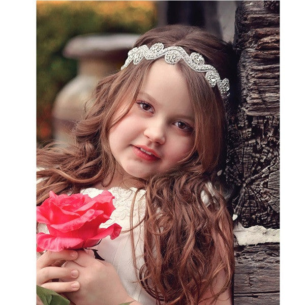 Girls Princess Rhinestone Headbands Hot Sale Beautiful Crystal Lady Hair Accessories Wedding Jewelry Headwear Ribbon 1pc HB423