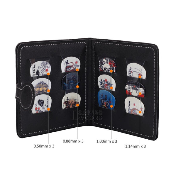 Guitar Picks Bag Holder Pack Including 12 Rock Picks Wholesale - Black