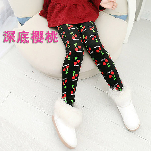 High Quality Autumn and Winter Children's Leopard Print Pant Girl Legging Child Baby Trousers Double Velvet Thickening Leggings