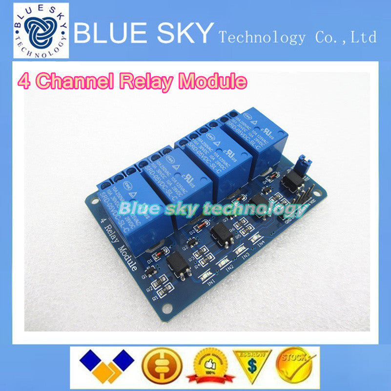 Hot 1PCS LOT 5V 4-Channel Relay Module Shield for Arduino ARM PIC AVR DSP Electronic 5V 4 Channel Relay Module