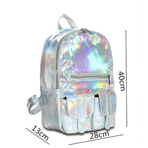 Hot Feel Hotselling Fashion Hologram Backpack For School Student Women's Laser Silver Color Holographic Bag