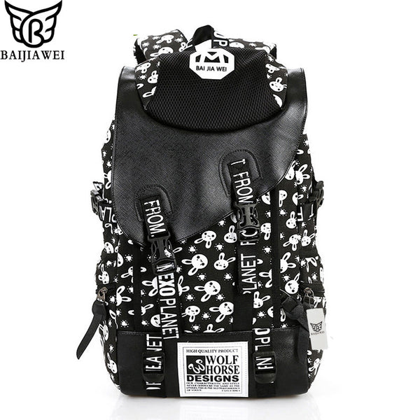 Baijiawei Letter Solid Canvas Backpacks Women Bp212