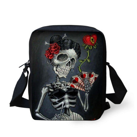 Hot vintage women messenger bags punk skull small crossbody bag for ladies mini canvas bag for women bolsos carteras mujer marca