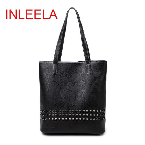 Inleela Rivet Solid Pu Handbags Women