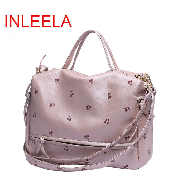 Inleela Cartoon Printing Floral Pu Handbags Women 001