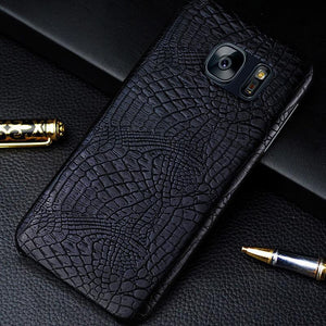 KOBEE Luxury For Samsung Galaxy S7 Edge Phone Case Leather 3D Crocodile Back Hard Cover For Samsung Galaxy S 7 S7 Edge Case