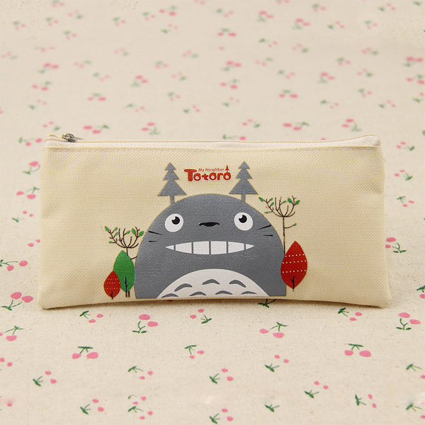 Kawaii Fabric Pencil Bag for student Lovely Cartoon Totoro Pen Bags Makeup Pouch Escolar School Supplies 1pcs